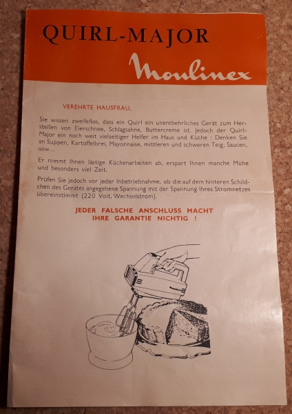 "Moulinex Quirl ""Major"" BT2A - ca. 1960er Jahre"